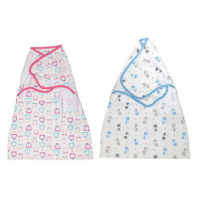 Playette Comfort Swaddle Wrap Pink Owls/Blue Giraffe