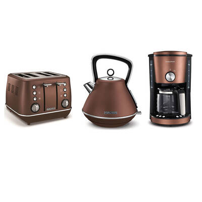 Morphy Richards Evokel Toaster/Kettle & Coffee Machine - Bronze