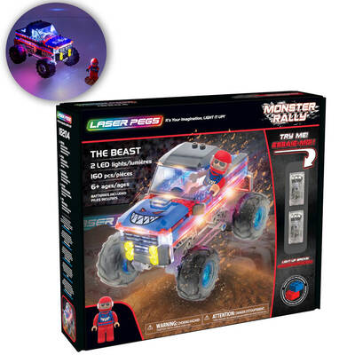 Laser Pegs 160pc Monster Rally Building Bricks Set w/ LED Lights