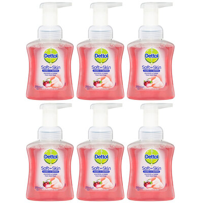 6x Dettol 250ml Liquid Soft on Skin Foam Rose & Cherry Hand Wash Pump