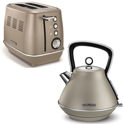 Morphy Richards Evoke 2 Slice Toaster Platinum & 1.5L Kettle