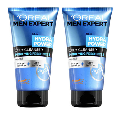 2x Loreal Men Expert 150ml Hydra Power Face Wash Menthol