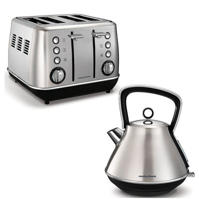 Morphy Richards Evoke 4 Slice Toaster & 1.5L Kettle - Brushed Stainless Steel