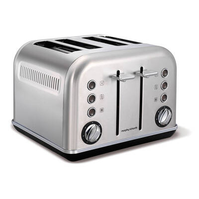 Morphy Richards 242026 Brushed Chrome Accents 4 Slice Toaster Stainless Steel