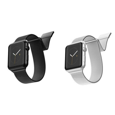 2pc X-Doria Mesh Band f/ Apple iWatch 40 & 38mm - Black & Silver