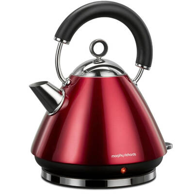 Morphy Richards 43857 1.5L Kettle Cherry Red Traditional Whistle & Cordless Base