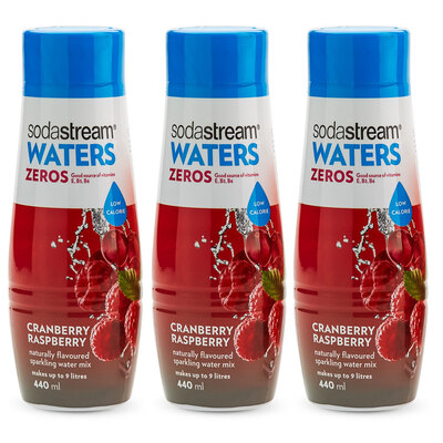 3x SodaStream Zeros Mix Cranberry Raspberry 440ml - Low Sugar