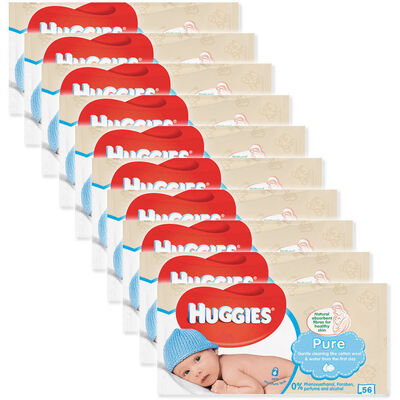 10x Huggies 56 Wipes Pure Soft Gentle Baby Wipe