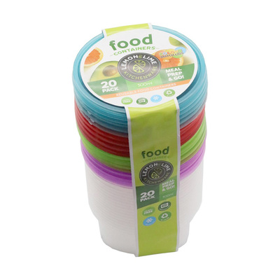 20PK Lemon & Lime 300ml Round Food Container