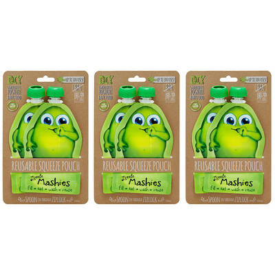 6pc Little Mashies Green Reusable Squeeze Pouches
