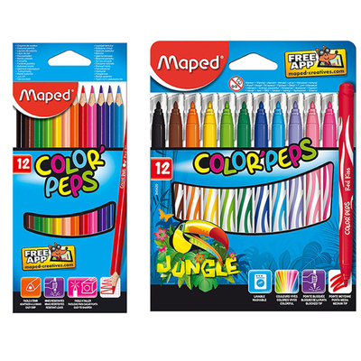 12pc Maped Color Peps Colouring Pencils & 12pc Jungle Colouring Markers Combo