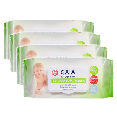 Gaia 320PK Natural/Pure/Organic Bamboo Baby/Kid Wipes Lightly Scent/Free Alcohol