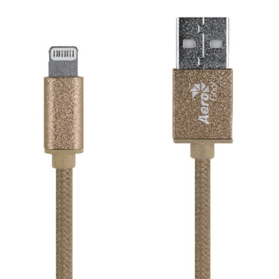 Aerocool MFI Lightning to USB Braided Cable 1m - Gold