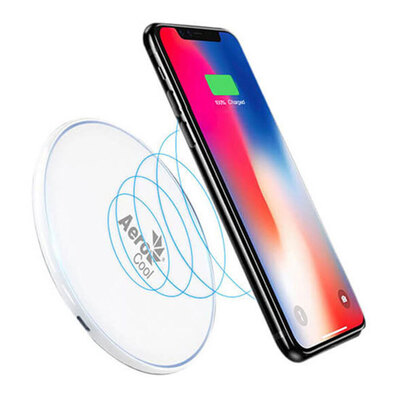 AeroCool Slimline 10W Fast Desktop Wireless Charger w/ LED light - White