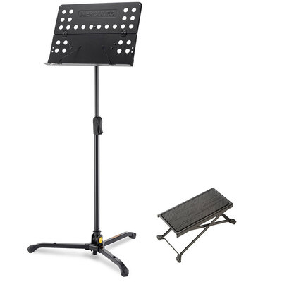 Hercules Tripod Orchestra Music Sheet Stand w/ Guitar Foot Stool