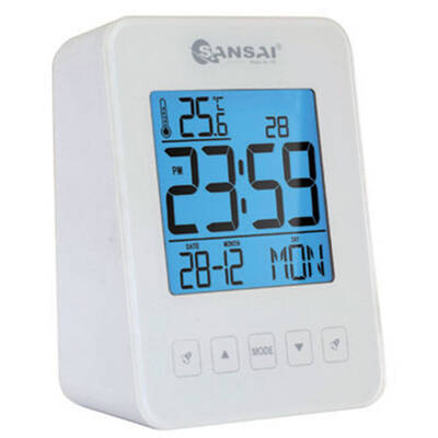 Sansai LCD Alarm Clock White
