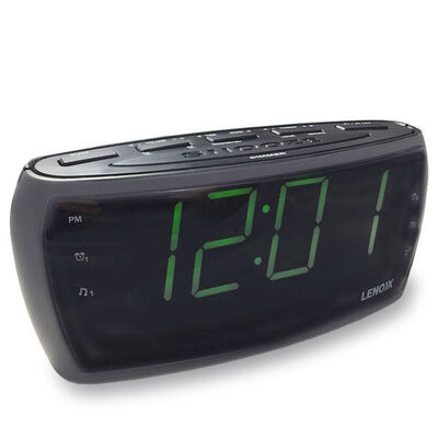 Am/Fm Alarm Clock Radio 1.8Inc Big Large Green Numbers Led Display /Snooze/Sleep