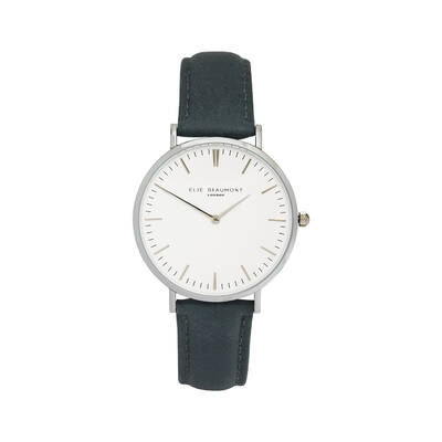 Elie Beaumont Women's 38mm Large Oxford leather Watch - Blue/White/Silver