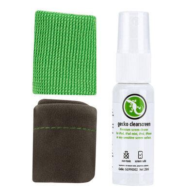 Gecko Clear Screen Mini Kit W/ 20ML Spray/ Microfibre Cloth & Carry Pouch