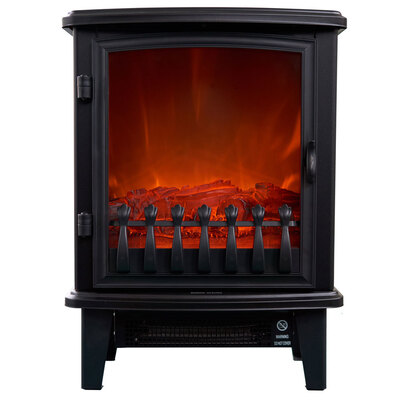 Heller 1800W Electric Fireplace Heater - Black