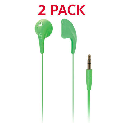 iLuv Green Bubble Gum 2 Earphones 2 Pack