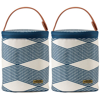 2PK Cooler Insulated Thermo Bag w/Ice Pack for Baby Bottles  - Navy Twine