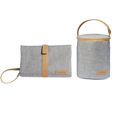 Baby Nappy Changing Clutch Pad/Cooler Thermo Bag for Bottles  - Grey Heather