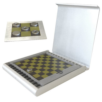 Checkers & Tic Tac Toe Board Game Set w/ Magnetic  Pieces