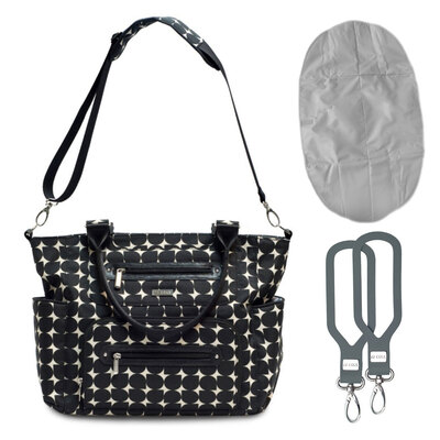 JJ Cole Nappy/Diaper Handbag w/ Changing Mat Holder - Black