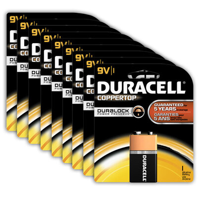 9x Genuine Duracell 9V Alkaline Coppertop Multi Purpose Battery 6LF22 (9 Volt)