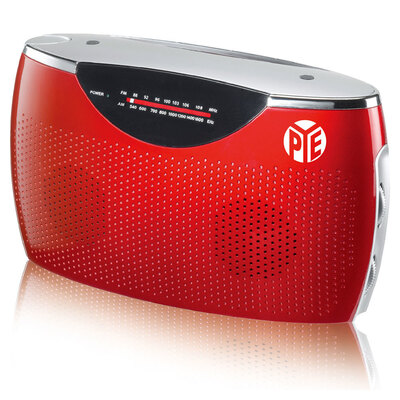 Red Portable AM/FM Radio w/ Built In Speaker