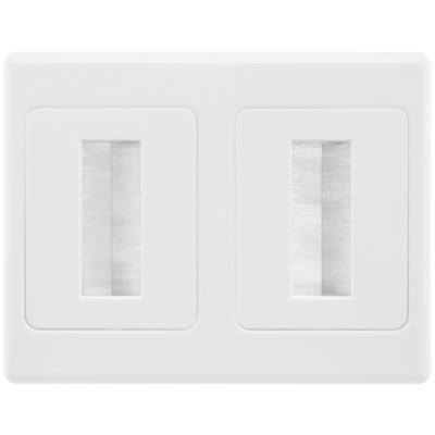 Dual Wall Plate Brush Wallplate Outlet Cover for Cable Lead Management/organiser