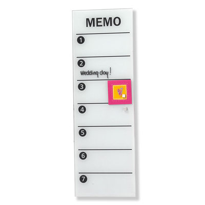 Naga 60X20 White Wall Mount Magnetic Glass Board Memo Notes/Write On/Off/Magnet