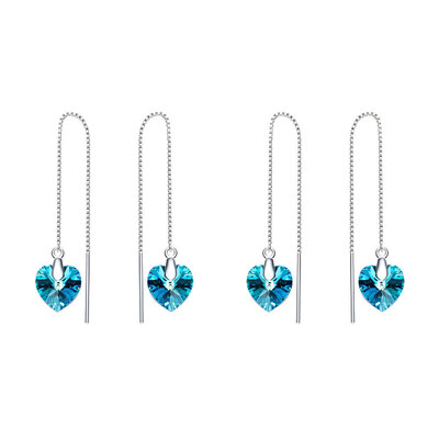 2PK Sterling Silver Dangling Heart Earrings w/ Swarovski Crystals