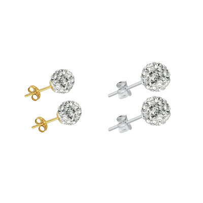 2PK Yellow Gold Plated Mini Bubble Earrings & Sterling Silver Bubble Earrings w/ Swarovski Crystals