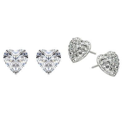2PK Sterling Silver & White Gold Plated Heart Solitaire Earrings w/ Swarovski Crystals