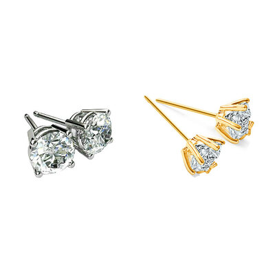 2PK White Gold & Yellow Gold Plated Solitaire Earrings w/ Swarovski Crystals