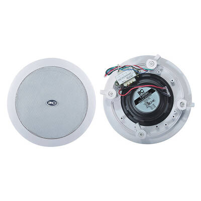 "ITC White 20cm 5"" 2-WAY 100V 6W Indoor PA Public Address in-Ceiling Speaker"