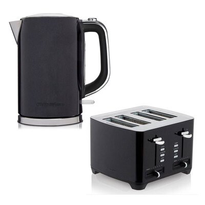 2pc Westinghouse 1.7L 2200W Electric Kettle w/ Rotating Base/4 Slice Toaster - Black